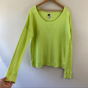 Free People Yellow Fitted Thermal Long Sleeve Top
